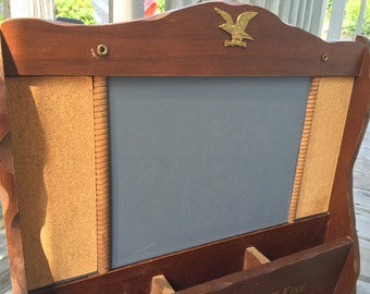 Vintage - Wood Organizer - Chalkboard - Cork Board - Brass Eagle  - Spindle Wood Dividers -  Cottage Chic - Kitchen Wall Hanging - Retro