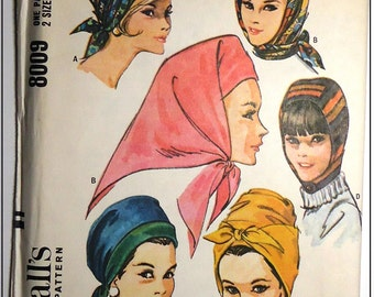 McCalls #8009 - 1960s Vintage Hats In 4 Styles Pattern - Factory Folded