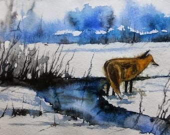 WATERCOLOR ORIGINAL Painting, Original Watercolor Painting- Fox, watercolor landscape, Pinetreeart, WATERCOLOR, landscape original, painting