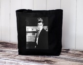 Busters Cat - Reproduction of a Vintage Photograph - Tote Bag - Natural or Black Canvas Bag - School Bag