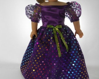 18 inch doll clothes made to fit dolls such as American Girl® doll clothes,  Purple Fancy Party Dress, 09-1359
