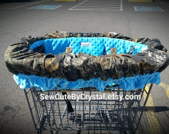 READY TO SHIP - Mossy Oak Camo w/ Aqua Blue Minky Seat w/ Ruffle Shopping Cart Cover & High Chair Cover - Christmas Holiday Gift Boy or Girl
