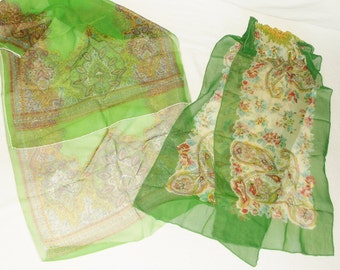 Vintage Long Sheer Green print Chiffon Scarf Lot • 2 count