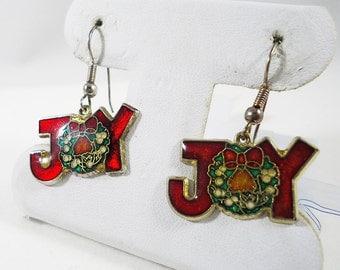 Joy Christmas Wreath Red and Green Dangle Earrings Vintage Costume