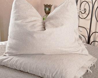 Mix-Natural linen pillowcase  with ties . Linen pillow cover. Linen sham.