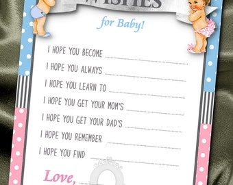 10 Wishes for Baby Cards, Baby Shower Party Games, Activity Game Cards, Baby Gender Reveal Party, Prince, Princess, Royalty