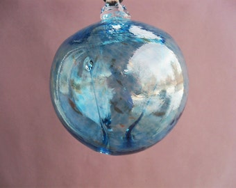Hand Blown Glass Witch Ball/Ornament/Suncatcher,Art Glass, Aqua Color - Small Size
