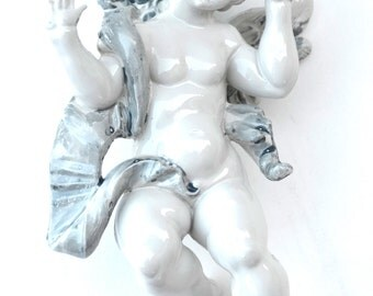 Vintage Italian Cherub Angel Ornament Florentine Made in Italy Shabby Chic Romatic Home