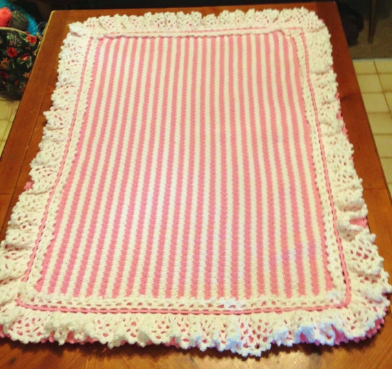 Pink and White Crocheted Crib Blanket for a miracle baby