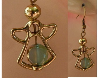 Gold Guardian Angel Bead Frame Drop/Dangle Charm Earrings Handmade Jewelry Hook Accessories