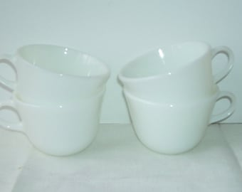 4 Pyrex White Milk Class Mugs, Cafe Cups, Restaurant Cups, Corning, NY Cups, Kitchen coffee Cups, Pyrex Teacups, Retro Pyrex Cups