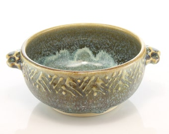 Ceramic soup, dessert, cereal bowl with green and brown glazes, handmade by Jason Hooper Pottery