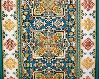 "Trieste Jewel Ornate Design Metallic Robert Kaufman Fabric 24"" Panel"