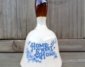Vintage Ceramic Bell Home Sweet Home Blue Printed Crackle Glaze