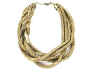 Vintage Gold Statement Necklace Coil Beads Scuptural Necklace Metal Snake Necklace Flexible Multi Strand Chain Necklace Boho Wearable Art