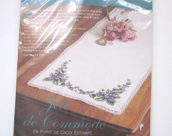 Dimensions Pretty Violets Dresser Scarf, Stamped to Embroider with Cross Stitch, NIB, 2002