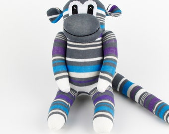 Handmade Gray Blue Striped Sock Monkey Stuffed Animal Doll Baby Gift Toys