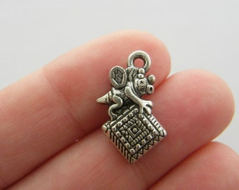 4 Quilting bee charms antique silver tone SN55