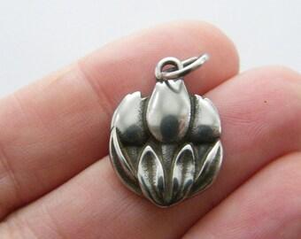 1 Tulips charms dark silver tone F175