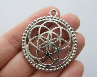 2 Flower of life charms silver tone M711