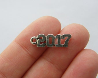 BULK 50 2017 charms antique silver tone PT69