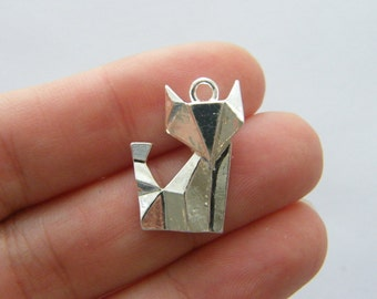 BULK 20 Paper fox origami charms silver plated PT104