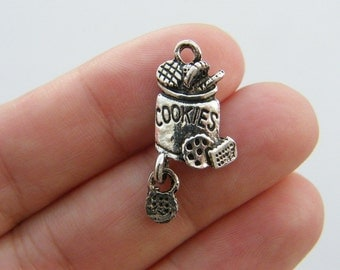 BULK 30 Cookie charms antique silver tone FD279