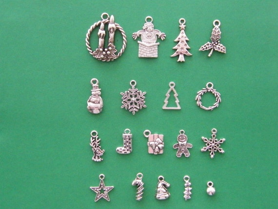 The Ultimate Christmas Charms Collection - 18 antique silver tone charms
