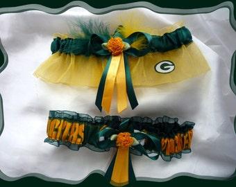 Green Bay Packers Combo Fabric Wedding Garter Set w GB 2 Choices