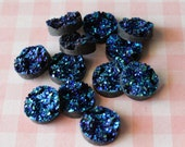 12-Blue Resin Druzy Beads 12mm - Set of 12 -Drusy Cabochon Ready to Ship , Jewelry Supplies