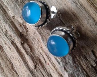 Vintage Blue Chalcedony  Earrings