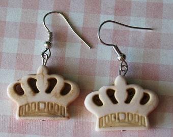 Crown Earrings Off White,Boho Jewelry