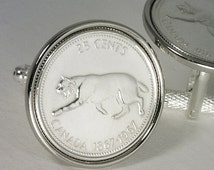 49th Birthday Gift 1967 - 25th Anniversary Gift - Genuine Canadian 25 Cents Coin Cufflinks - FREE Cufflink Box - FREE & Reduced SHIPPING !