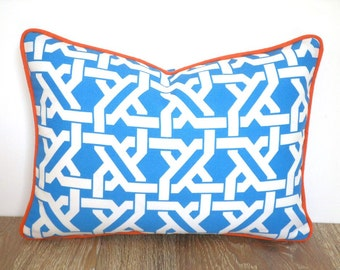 Turquoise outdoor cushion piping, orange and aqua outdoor pillow cover 16x10, small lumbar case for lounge chair