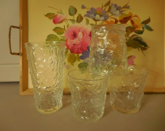 Four Vintage CLEAR Anchor Hocking Lido Milano Glasses
