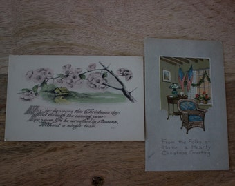 Two 1900's Antique Holiday Postcards