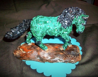 Gem Stone Mosaic Malachite and Black Tourmaline  Horse Collectable  One Of A Kind