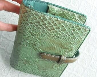 leather binder, pearl mint python, leather planner, planner binder, mint wallet, mint gold, green journal, snake planner, handstitched