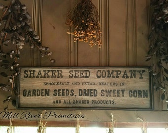 Shaker Seeds Company Wooden Sign~ Primitive Antique