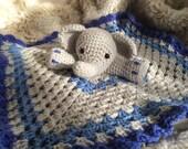 Crochet Elephant Lovey, Security Blanket, baby shower gift, elephant nursery, elephant baby gift, photo prop, crochet blanket, baby, newborn