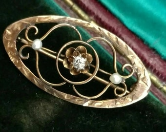 Victorian 10k gold mine cut diamond and seed pearl lingerie pin brooch - antique jewelry