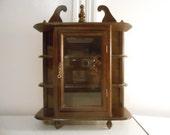 Beautiful Dark Wood Cabinet/3 Tier/Glass Door Cabinet/Wall Cabinet/Display Cabinet