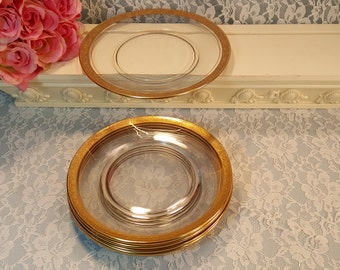 """Tiffin Glass Rambler Rose Lunch Plate, 8 1/2"""" Size, Set of Six, Gold Pattern Edge, 1930s Antique Vintage Glass Elegant Dinnerware, Perfect"""