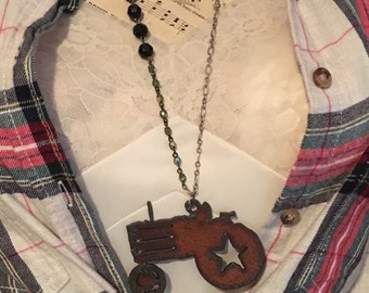Farmers Daughter Tractor Necklace
