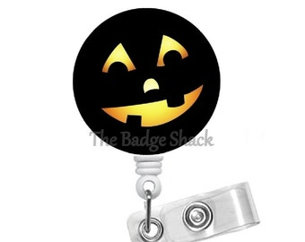 Smiling Jack-O-Lantern - Teacher Badge Holder - Nurses Badge Holder - Halloween Badge - Nursing Badge Holder - RN Badge Reel - Gift under 10