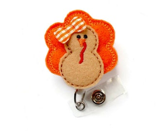Trudy the Turkey - Retractable ID Badge Reel - Name Badge Holder - Unique Badge Reel - Nurse Badge Holder - Nursing Badge Clip - Felt Badge