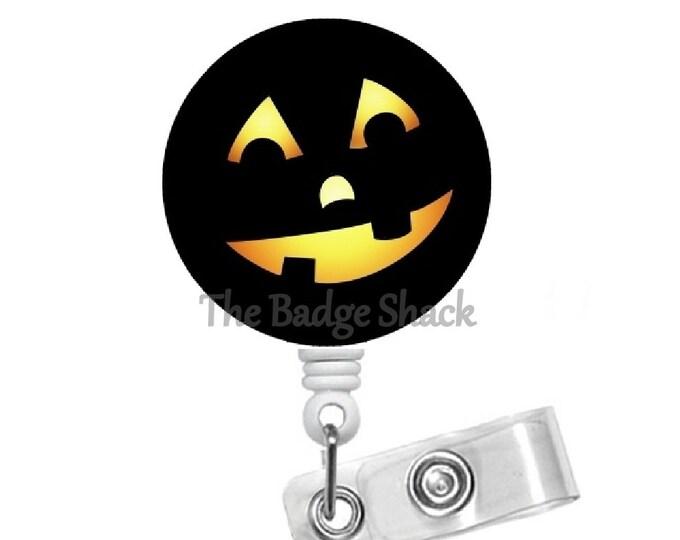 Smiling Jack-O-Lantern - Teacher Badge Holder - Nurses Badge Holder - Halloween Badge - Nursing Badge Holder - RN Badge Reel - Gift under 10