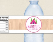 Pink Camping Glamping Party - 100% waterproof personalized water bottle labels