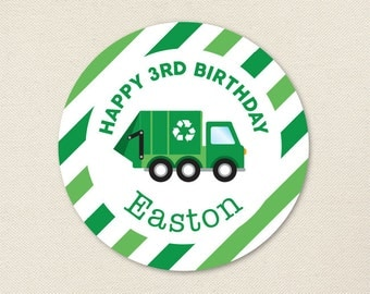Garbage Truck Party - Personalized Stickers - Sheet of 12 or 24