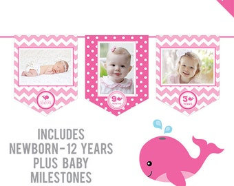INSTANT DOWNLOAD Pink Whale Party - DIY printable photo banner kit - Includes Newborn through 12 Years, Plus Baby Milestones